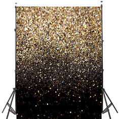 5x7FT Gradual Change Glitter Black Gold Dots Photography Backdrop Studio Prop Background