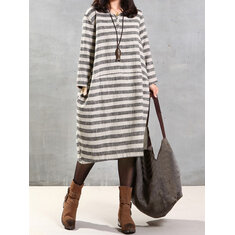 Women Striped V Neck Long Sleeve Kaftan Dress
