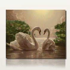 40X50CM Two Beauty Swans Painting DIY Self Handicraft Paint Kit Unframed Home Decoration