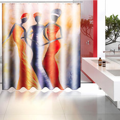 150cm/180cm Polyester Waterproof Bathroom Hanging Bath Shower Curtains with 12 Hooks