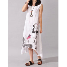 Women Folk Style Ink Painting Floral Sleeveless Dress