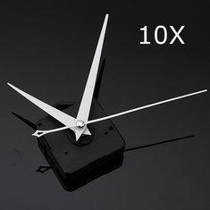 10Pcs DIY White Triangle Hands Quartz Black Wall Clock Movement Mechanism