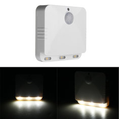 Wireless PIR Motion Sensor LED Night Light Battery Operated White Lamp for Home Bedroom