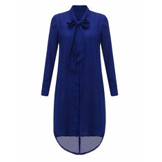 Women Casual Loose Bowknot Long Sleeve Solid Color Shirt Dresses
