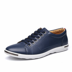 Big Size Men Leather Casual Lace Up Athletic Shoes