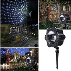 Snowflakes Remote Control Warm White White LED Projector Stage Light for Christmas Party AC100V-240V