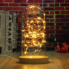Creative Wood Glass LED Night Light Table Lamp Decoration Gift 220V