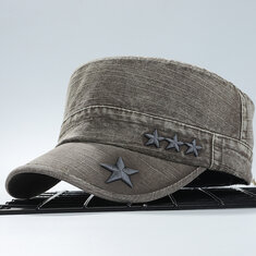 9785bf63668b3 ... Mens Outdoor Washed Cotton Flat Top Hat Military Style Cap