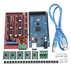 MEGA 2560 R3 3D Printer Mainboard With USB Cable + RAMPS 1.4 RepRa + A4988 Drivers Kit For Arduino