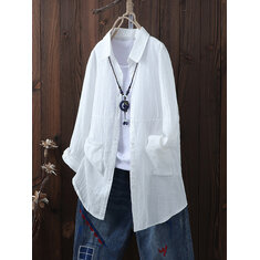 Plusポケット付きサイズ女性ブリーフラペルシャツ