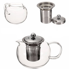 600/950/1300ml Clear Stainless Steel Heat Resistant Glass Teapot Infuser Tea Pot