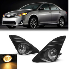Car Front Bumper Fog Lights with Covers Wiring Harness Amber Kit for Toyota Camry 2012-2014