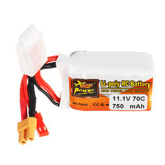 ZOP Power 11.1V 750mAh 70C 3S Lipo Battery JST XT30 Plug for Eachine Lizard95 FPV Racer