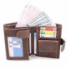 RFID Antimagnetic 11 Card Slots Card Holder Genuine Leather Cowhide Wallet For Men