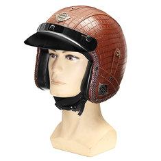 3/4 Face Mask PU Leather Motorcycle Helmet M/ L/ XL Visor Alligator skin Pattern