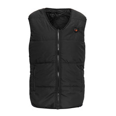 Men Heated Waistcoat Sleeveless Vest Jacket Temperature LCD Display Winter Warmer Pads Outdoor Coat