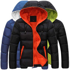 26f2d0c7e1f Mens Winter Contrast Color Outdoor Warm Hooded Padded Jacket