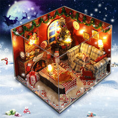 Wooden Dollhouse Furniture Kits LED Light Miniature Christmas Room DIY Dollhouse Puzzle Toy