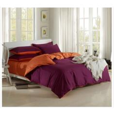 3 Or 4pcs Pure Cotton Purple Pink Color Assorted Plain Bedding Sets