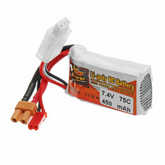 ZOP POWER 7.4V 450mAH 75C 2S Lipo Battery With JST/XT30 Plug For RC Models