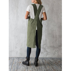 Women Vintage Japanese Style Cotton Aprons Dress with Pocket