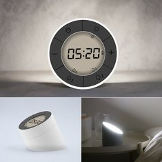 2 In 1 Multifunctional Digital Alarm Clock LED Night Light Overturn Clock Atmosphere Lamp 10 Lever Brightness Setting Festival Gift For Bedroom Camping Hiking Party