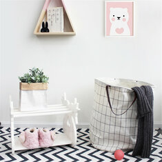 Useful Baby Kids Toy Canvas Laundry Drain Basket Storage Bag With Leather Handbag