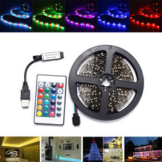 0.5/1/2/3/4M SMD3528 Non-Waterproof RGB LED Strip Light TV Backlilghting Lamp + USB Remote DC5V