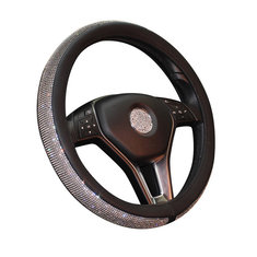 Universal 38cm Leather Car Steering Wheel Covers with Crystal Rhinestone for Women Girl Driver