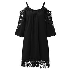 Women Off Shoulder Lace Strap Hollow Half Sleeve Casual Mini Dresses