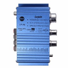 Lvpin LP-A6 Blue Mini 2CH Hi-Fi Stereo Amplifier Booster DVD MP3 Speaker for Car Motorcycle
