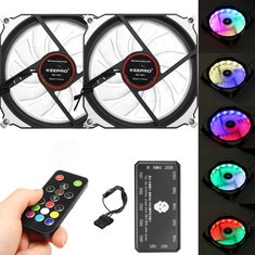 2Pcs RGB LED 366 Modes Quiet Computer Case PC Cooling Fan 120mm+Remote Control DC 12 V