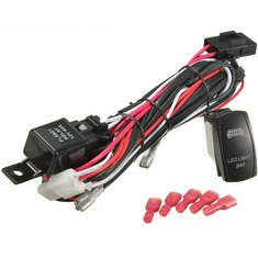 Blue LED Rocker Switch On Off with Wiring Harness 40A Relay Fuse