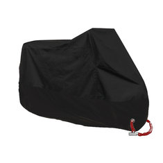 190T Full Black Motorcycle Rain Cover Scooter Waterproof UV Dust Protector Size M