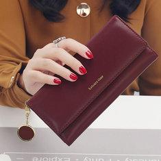 169750 Women Fashion Phone Bag Artificial Leather Multi-functional Long Wallet 9 Card Slots Clutch Bag
