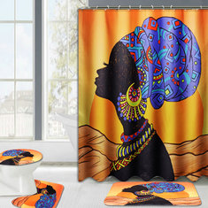 Waterproof African Baotou Woman Shower Curtains with 12 Hooks Bathroom Toilet Rug Mat Set