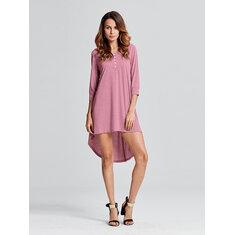 Sexy Women Brief Solid Button Irregular Cotton Dress