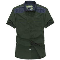 Summer Plus Size Mens Casual Cotton Short Sleeve Button up S