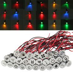 Universal 12V 14mm Waterproof LED Dash Panel Warning Light Metal Indicator Lamp
