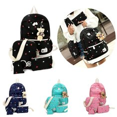 IPRee® 4pcs Women Girl Canvas Backpack Travel Schoolbag Rucksack