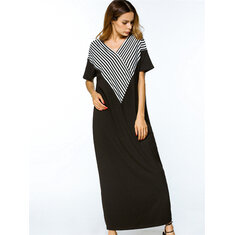 Women Casual Loose V-neck Stripe Patchwork Short Sleeve Maxi Dresses