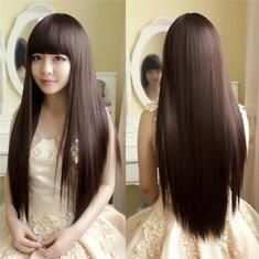 Очаровательный пушистый прямой парик высокой температуры волокна естественно длинные волосы полный парик партии 3-х цветов мило