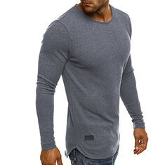 Mens Crew Neck Tops Solid Color Long Sleeve T-shirts