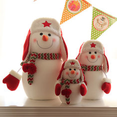 Christmas Party Home Decoration Red Hat Snowman Doll Ornament Toys For Kids Children Gift