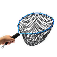 54*30cm Landing Fly Fishing Net Mesh Trount Bass Fishing Catch With Elastic Rope And Clip