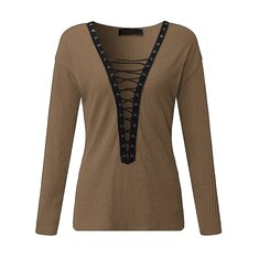 Sexy Women Lace Up Long Sleeve Plunge V-Neck Sweater