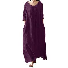 Retro Women Cotton Solid Long Sleeve Side Pockets Dress
