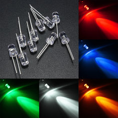 10pcs 5mm 5 Color Water Clear Round LED Diodes Assortment DIY Light