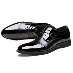 Men Lace Up Artificial Leather Formal Shoes Soft Sole Business Shoes