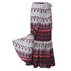 Bohemian Women Split Printed Skirts High Waist Beach Wrap Long Skirts
